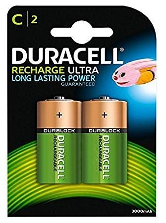 Babyzellen Akkus DURACELL 3000 mAh LR14 HR14 Baby-C Recharge Ultra 2er Pack