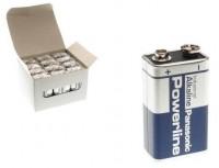 9V Batterien PANASONIC 6LR61 9V-Block Alkaline Powerline 12er Pack
