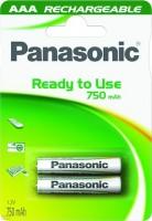 AAA Akkus PANASONIC 750 mAh LR03 Micro Rechargeable Dect Accu 2er Pack