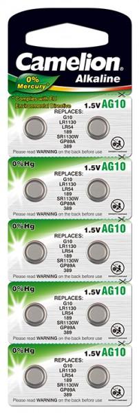 AG10 CAMELION Knopfzelle 10 Stück