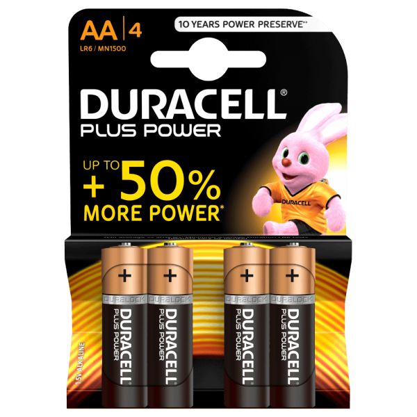 AA Batterien DURACELL LR06 Mignon MN1500 Plus Power 4er Pack