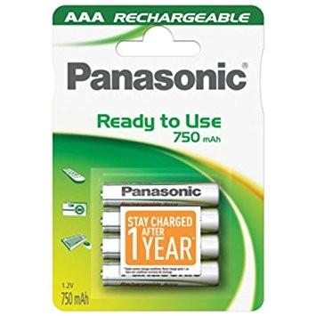 AAA Akkus PANASONIC 750 mAh LR03 Micro Rechargeable Dect Accu 4er Pack