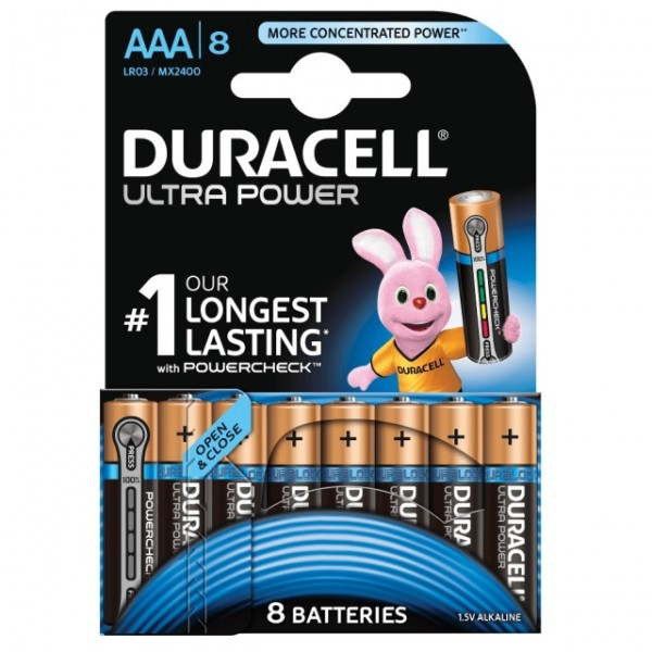 AAA Batterien DURACELL LR03 Micro MX2400 Ultra Power 8er Pack