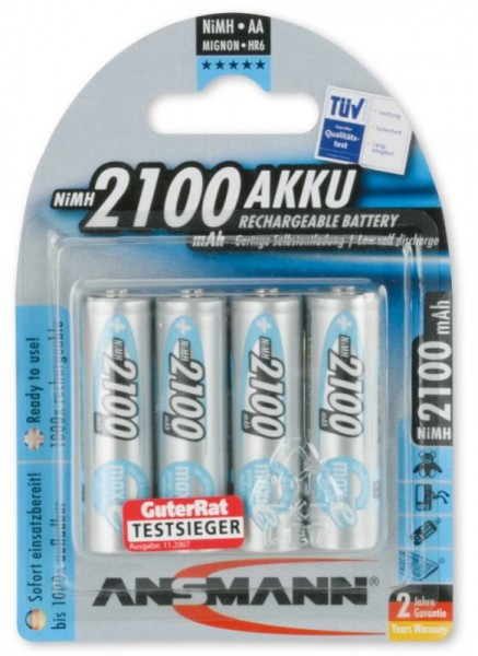 AA Akkus ANSMANN 2100 mAh maxE Mignon Blue 4er Pack