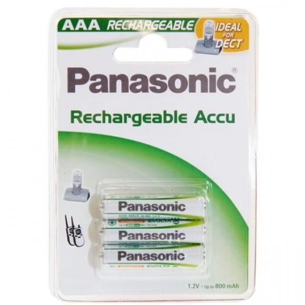AAA Akkus PANASONIC 750 mAh LR03 Micro Rechargeable Dect Accu 3er Pack