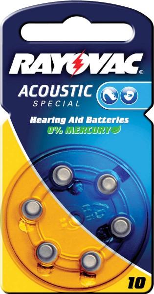 Typ 10 Hörgerätebatterien VARTA RAYOVAC Acoustic Special HA10 PR70 6er Pack