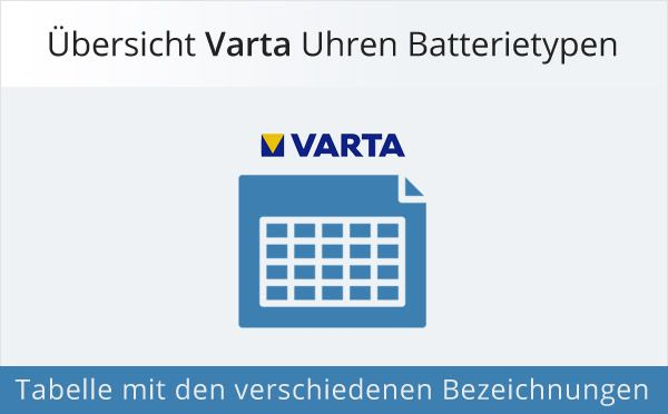 Übersicht Varta Uhrenbatterien