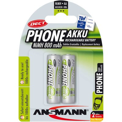 AA Akkus ANSMANN 800mAh Phone Mignon DECT green 2er Pack