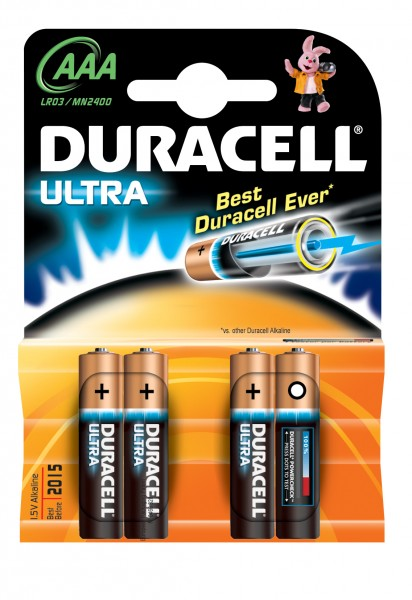 AAA Batterien DURACELL LR03 Micro MX2400 Ultra Power 4er Pack