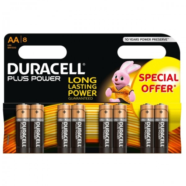 AA Batterien DURACELL LR06 Mignon MN1500 Plus Power 8er Pack