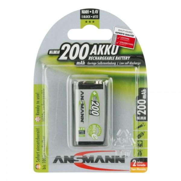 9V Akku ANSMANN 200 mAh E-Block maxE 1er Pack