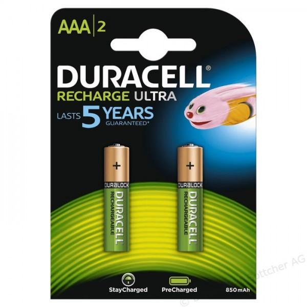 AAA Akkus DURACELL 850 mAh LR03 Micro Recharge Ultra 2er Pack