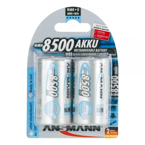 Monozellen Akkus ANSMANN 8500 mAh LR20 Mono-D maxE 2er Pack