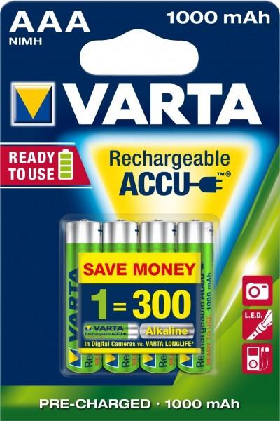 AAA Akkus VARTA 1000 mAh LR03 Micro Power Akku 56763 4er Pack