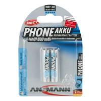 AAA Akkus ANSMANN 800 mAh LR03 Micro Dect 2er Pack