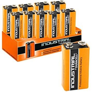 9V Batterien DURACELL 6LR61 9V-Block ID1604 Industrial 10er Pack