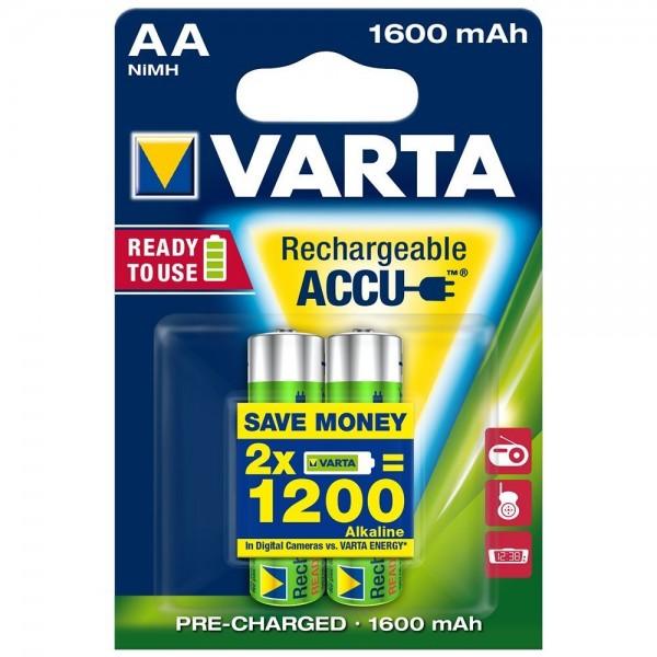 AA Akkus VARTA 1600 mAh 56716 Mignon Akku Ready2Use 2er Pack