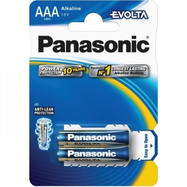 AAA Batterien PANASONIC LR03 Micro Evolta Alkaline 2er Pack