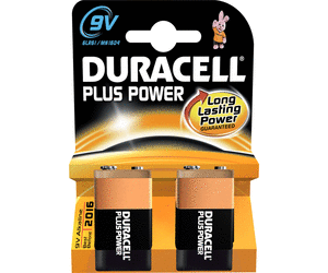 9V Batterien DURACELL 6LR61 9V-Block MN1604 Plus Power 2er Pack
