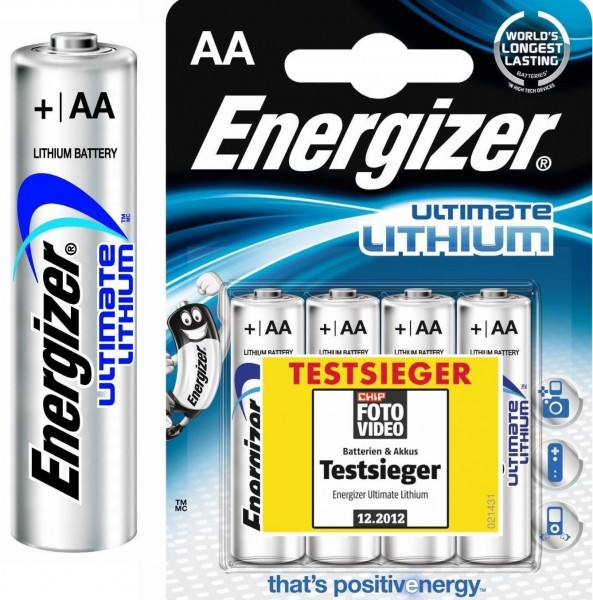 AA Batterien ENERGIZER LR06 Mignon Ultimate Lithium L91 4er Pack