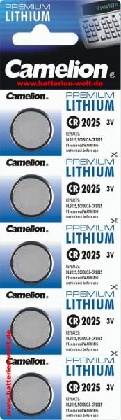 CR2025 CAMELION Knopfzelle Lithium 5er Streifen