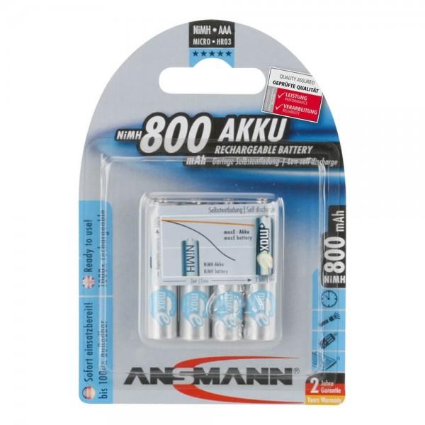 AAA Akkus ANSMANN 800 mAh LR03 Micro Standard 4er Pack