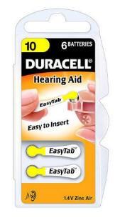 Typ 10 Hörgerätebatterien DURACELL EasyTab PR70 6er Pack