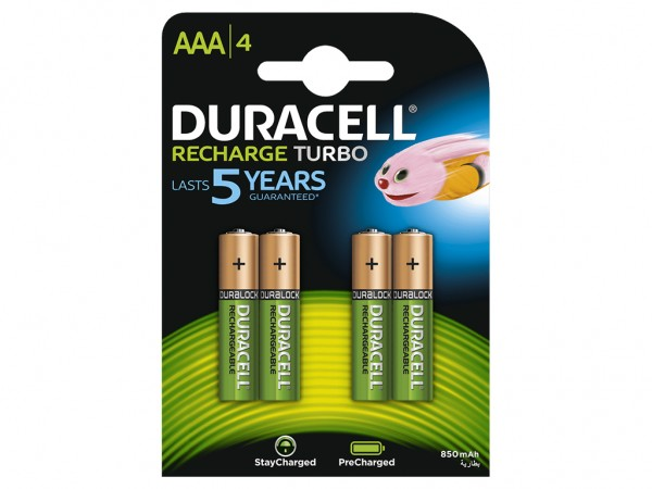 AAA Akkus DURACELL 850 mAh LR03 Micro Recharge Ultra 4er Pack