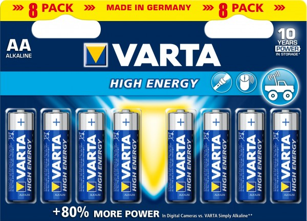 AA Batterien VARTA LR06 Mignon High Energy 4906 8er Pack