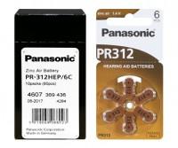 Typ 312 Hörgerätebatterien PANASONIC PR312 PR41 60er Pack