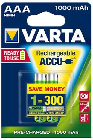 AAA Akkus VARTA 1000 mAh LR03 Micro Power Akku 56763 2er Pack
