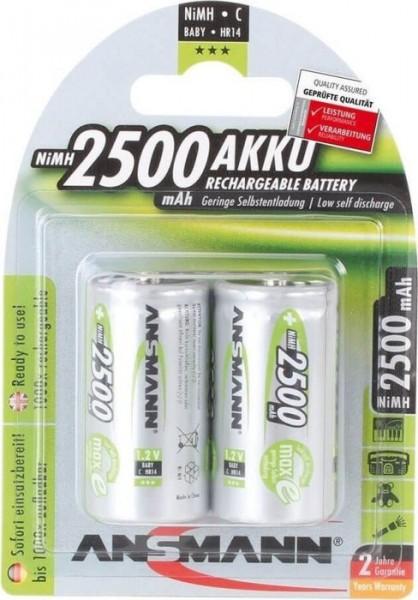 Babyzellen Akkus ANSMANN 2500 mAh LR14 Baby-C maxE 2er Pack