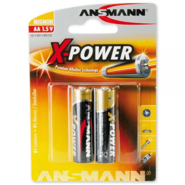 AA Batterien ANSMANN LR06 Mignon X-Power Alkaline 2er Pack