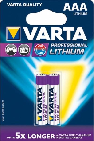 AAA Batterien VARTA LR03 Micro Professional Lithium 2er Pack