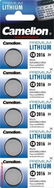 CR2016 CAMELION Knopfzelle Lithium 5er Streifen